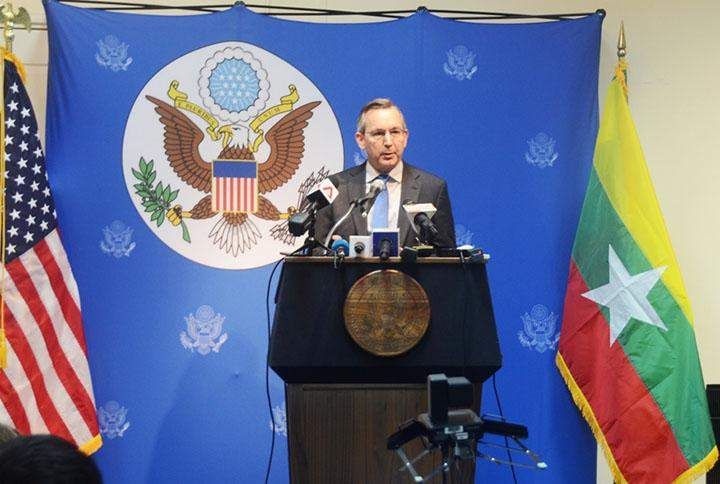 US Ambassador Mr Scot Marciel talks to journalists at American Centre in Yangon.