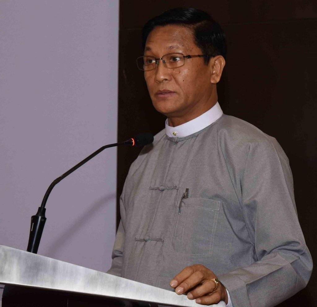 Vice President U Henry Van Thio delivers speech at the opening ceremony of the National Trade Portal and Trade Repository Website in Nay Pyi Taw. Photo: MNA