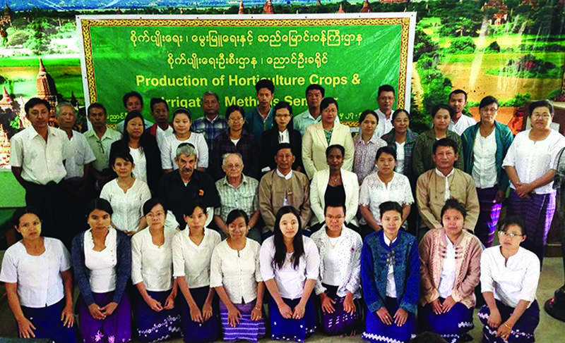"""Trainees from course on """"Production of Horticulture Crops and Irrigation""""  being seen."""