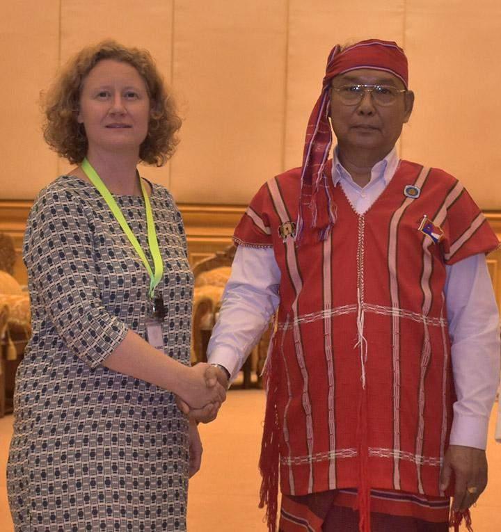 Speaker Mahn Win Khaing Than welcomes Ms. Judith Sargentini, representative from European Parliament.