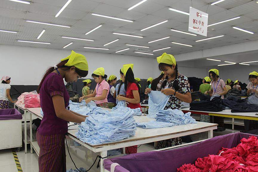 Garment workers on a production line in Hlinethaya Industrial Zone. Photo: Aye Min Soe