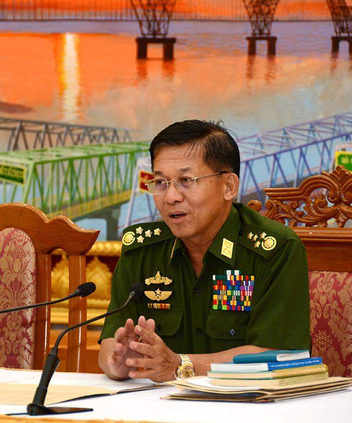 Senior General Min Aung Hlaing speaking at a press conference in Nay Pyi Taw.