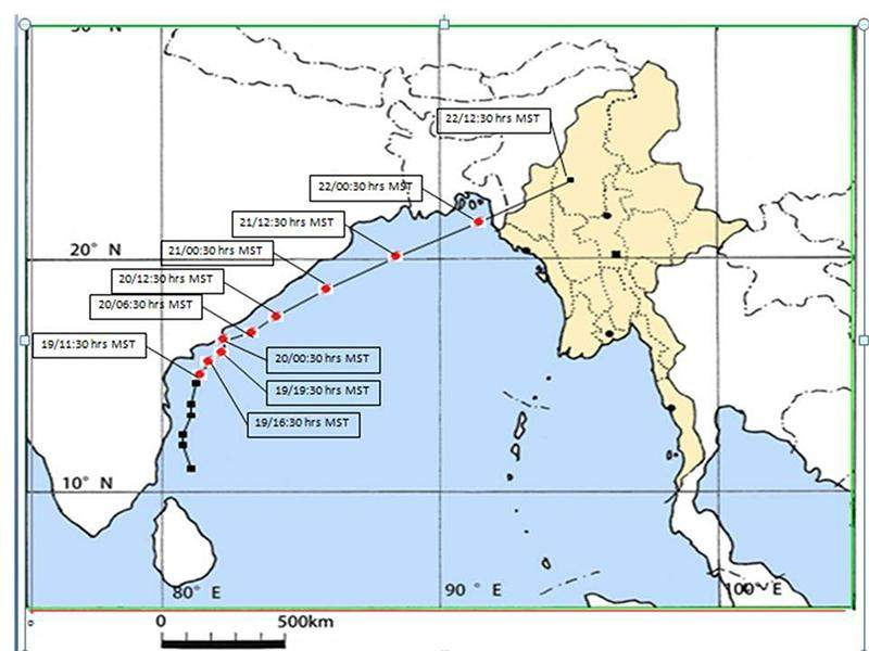 Observed and forecast track of Cyclone ROANU over Bay of Bengal.