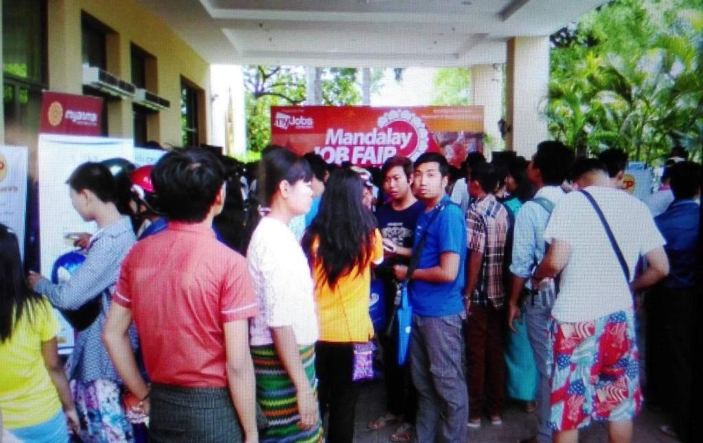 Fresh graduates attend the Job Fair in Mandalay.