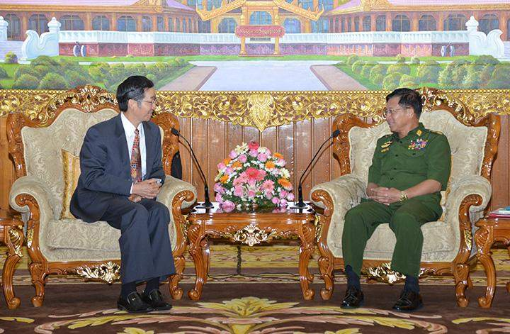 Senior General Min Aung Hlaing meets with Mr Sun Guoxiang, Asian Affairs Special Representative of the Ministry of Foreign Affairs of the People's Republic of China.