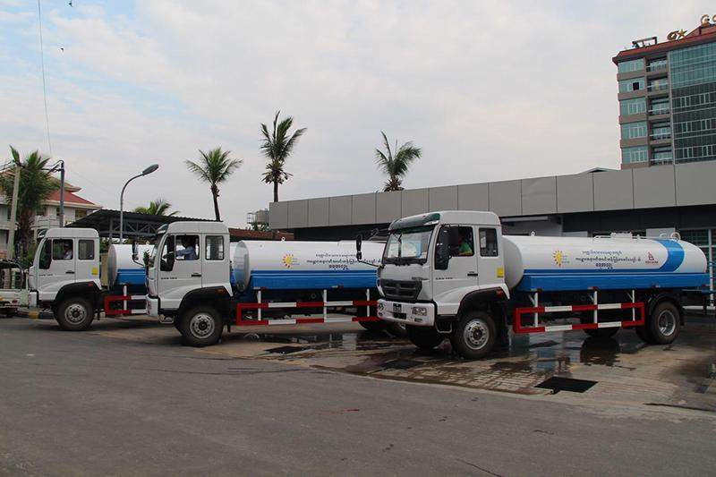 Water bowsers seen before departure.