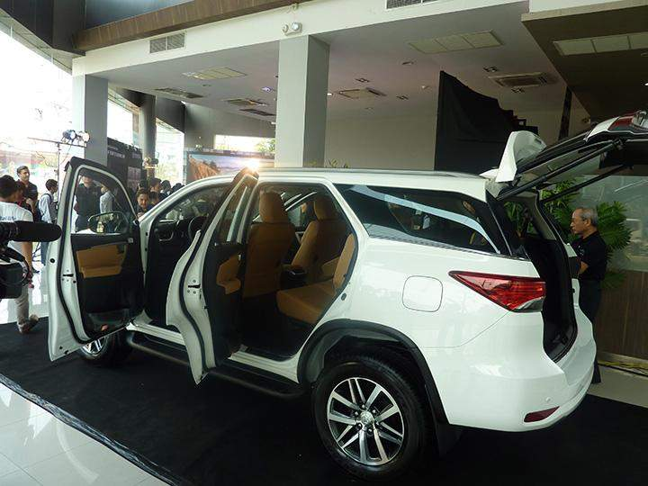 A Toyota Fortuner being displayed during the launching ceremony.