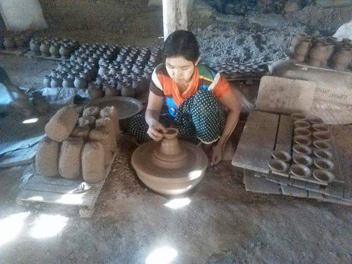 A traditional clay pot business seen in Twantay township.