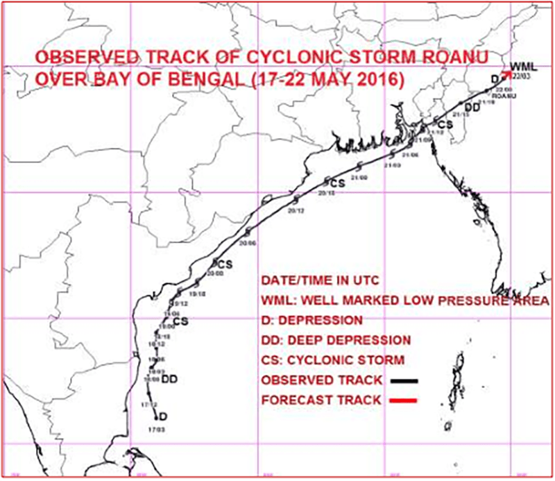 Depression Roanu's trajectory as of 22 May. Photo: World Meteorological Organisation