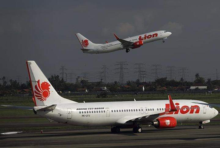 A Thai Lion airplane takes off at Soekarno-Hatta airport in Jakarta.