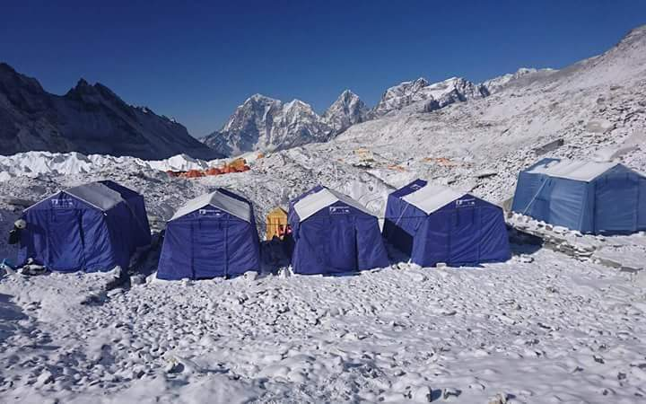 Camp-3 of Myanmar climbers at Mt. Everest. Photo: Supplied