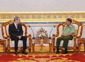 Senior General Min Aung Hlaing receiving Russian ambassador. Photo: MNA