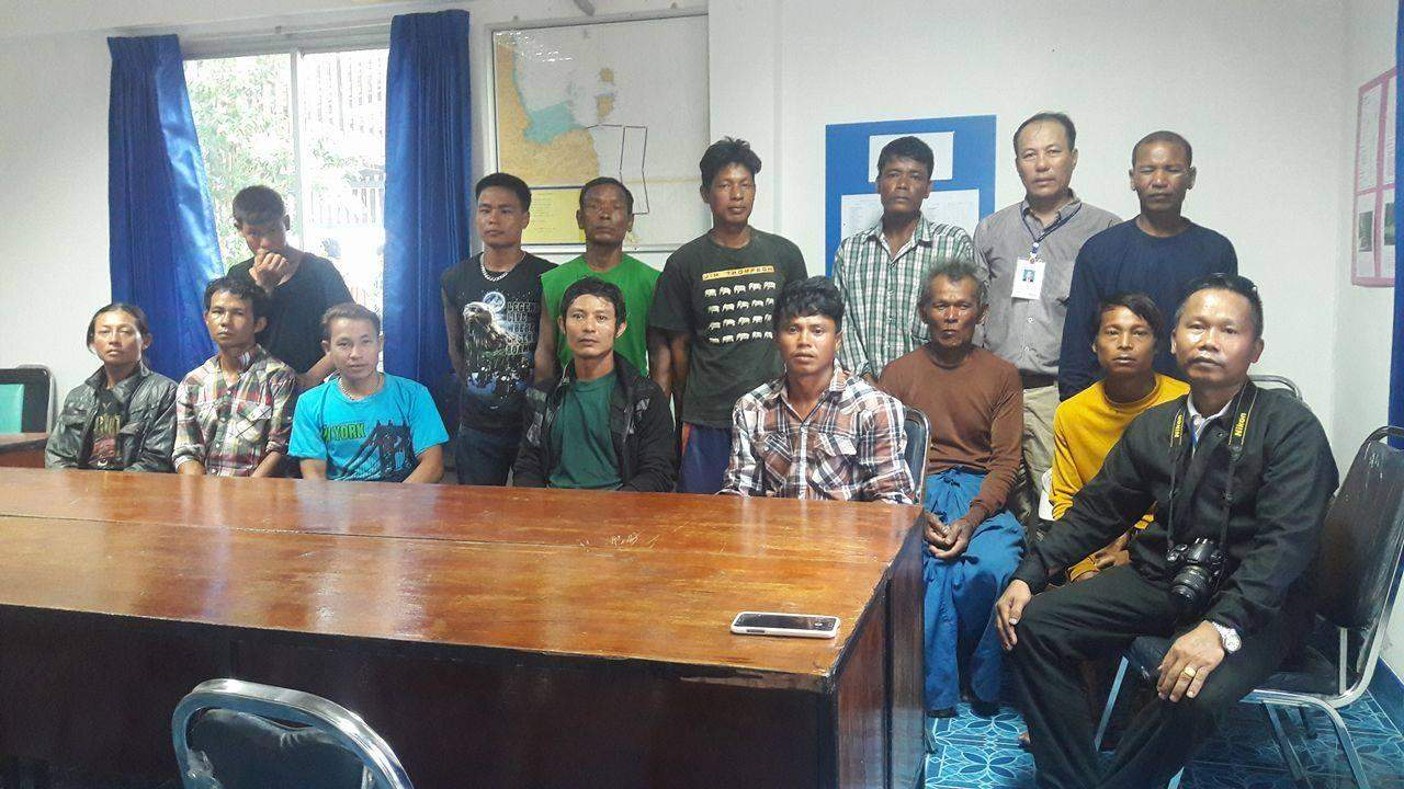 Rescued workers are seen at office of Myanmar Association Thailand. Photo: Supplied by MAT