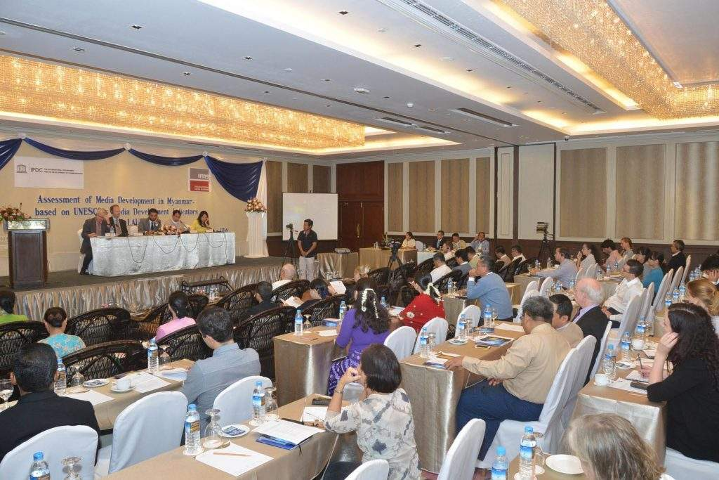 A ceremony to launch 'Assessment of Media Development in Myanmar'is held in Yangon. Photo: MNA