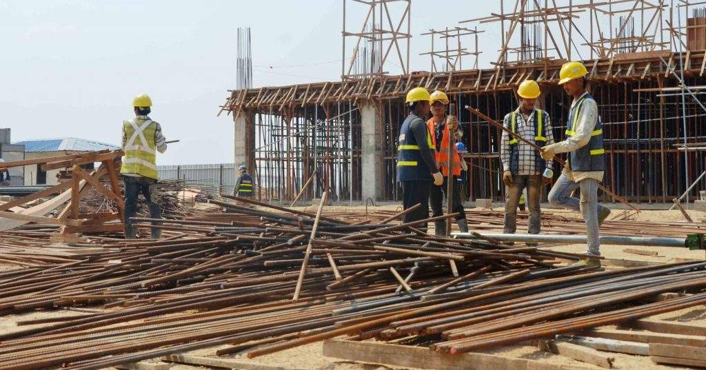 Workers are being seen at a construction site in Thilawa Industrial Zone. File Photo: Myat Thandar Maung