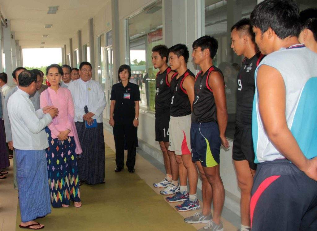 State Counsellor Daw Aung San Suu Kyi visits sports camp in Nay Pyi Taw. Photo: MNA