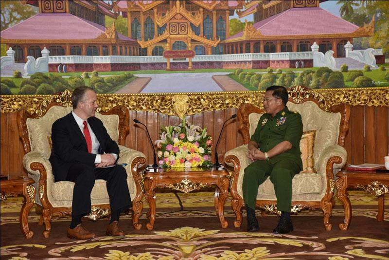 Senior General Min Aung Hlaing receiving Senator Mr. Daniel Sullivan in Nay Pyi Taw.