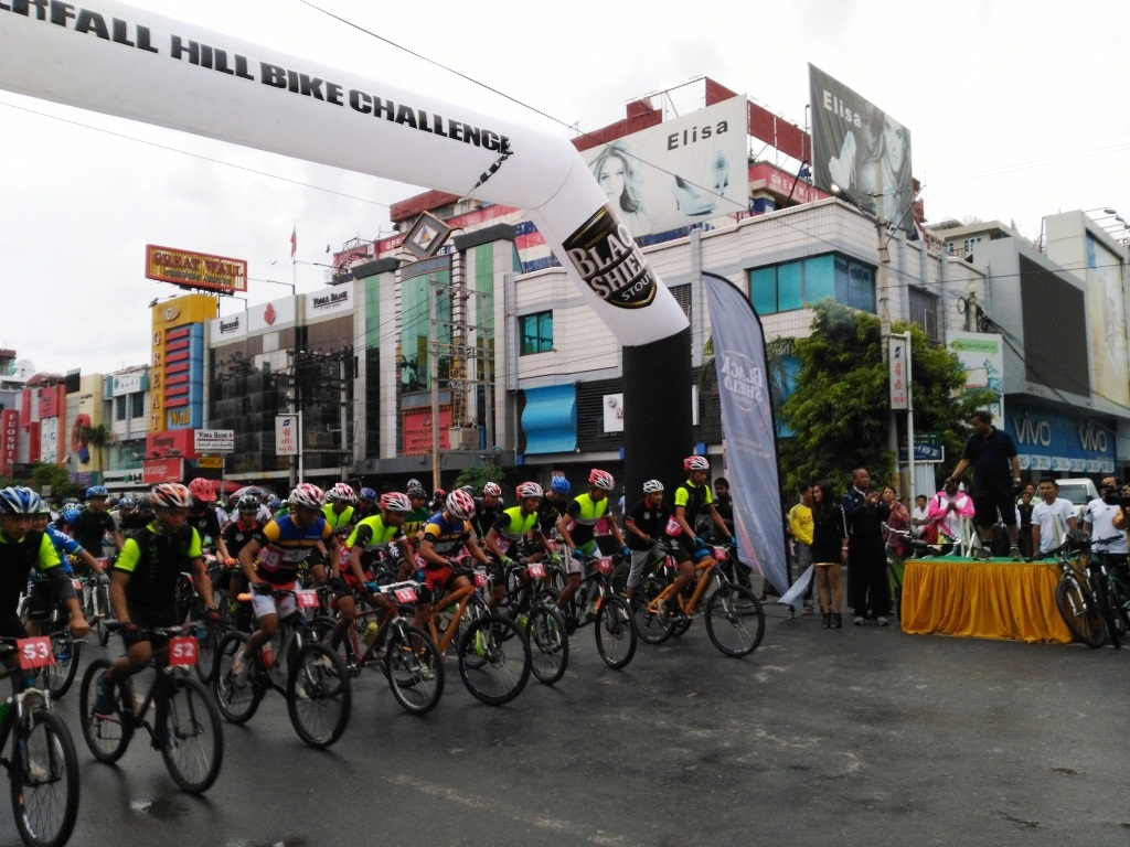 Cyclists being seen at the starting point. Photo: Maung Pyi Thu