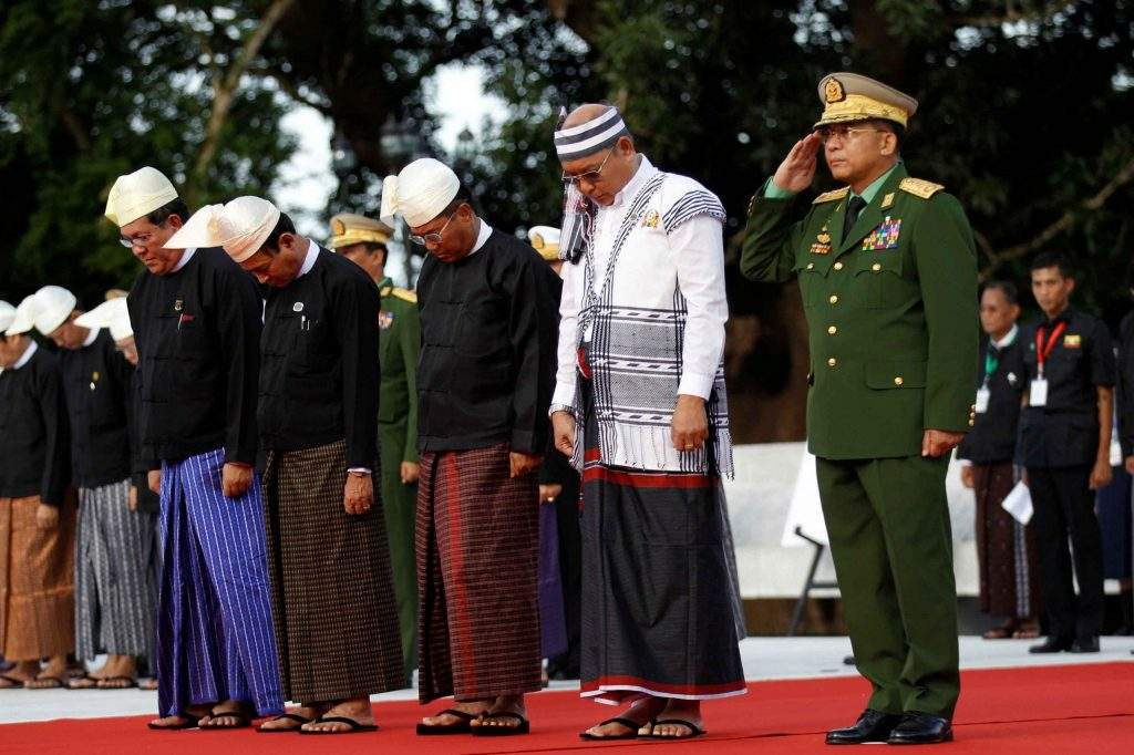 (From Right to Left) Comander-in-Chief of Defence Services Senior General Min Aung Hlaing, Speaker of Amyotha Hluttaw and Pyidaungsu Hluttaw Mahn Win Khaing Than, Vice President U Myint Swe, Speaker of Pyithu Hluttaw U Win Myint and Union  Chief Justice U Tun Tun Oo  pay tribute to fallen independence heroes at the event marking the 69th anniversary Martyrs' Day at the Martyrs' Mausoleum in Yangon July 19, 2016. Photo: Reuters