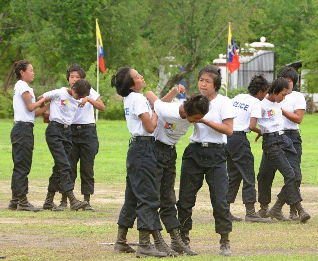 Policewomen are undergoing further training in mob control at Number 1 Police Training School, Yamethin. Photo: MNA