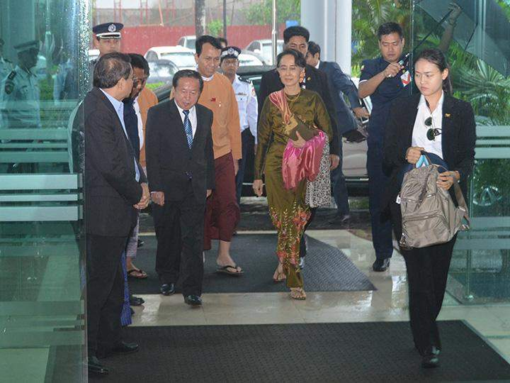 Union Minister for Foreign Affairs Daw Aung San Suu Kyi arrives Yangon International Airport to depart for Loas to attend the 49th ASEAN Foreign Ministers' Meeting and related meetings.