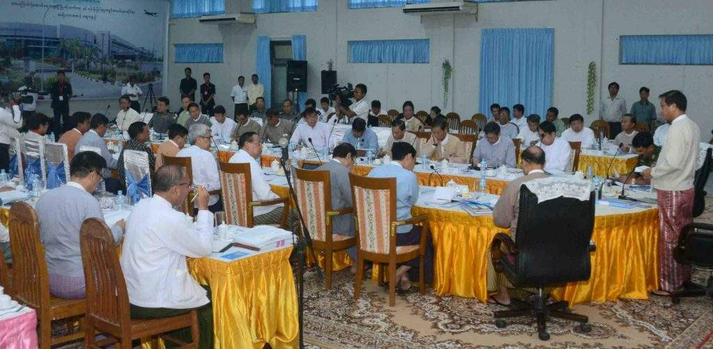 Vice President U Henry Van Thio addresses the work coordination meeting of the National Road Safety Council in Nay Pyi Taw. Photo: MNA