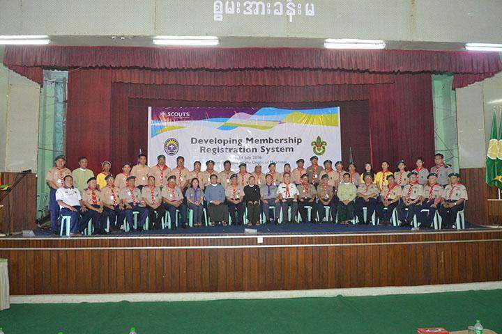 The scouts posing for a group photo after the meeting.