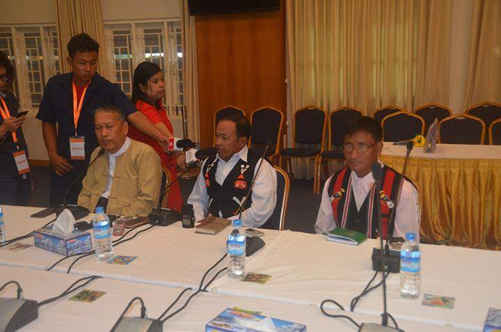 Two representatives from Nagaland-Khaplang (NSCN-K) participate in a meeting with the Preparatory Committee for the 21st Century Panglong Peace Conference in Yangon.