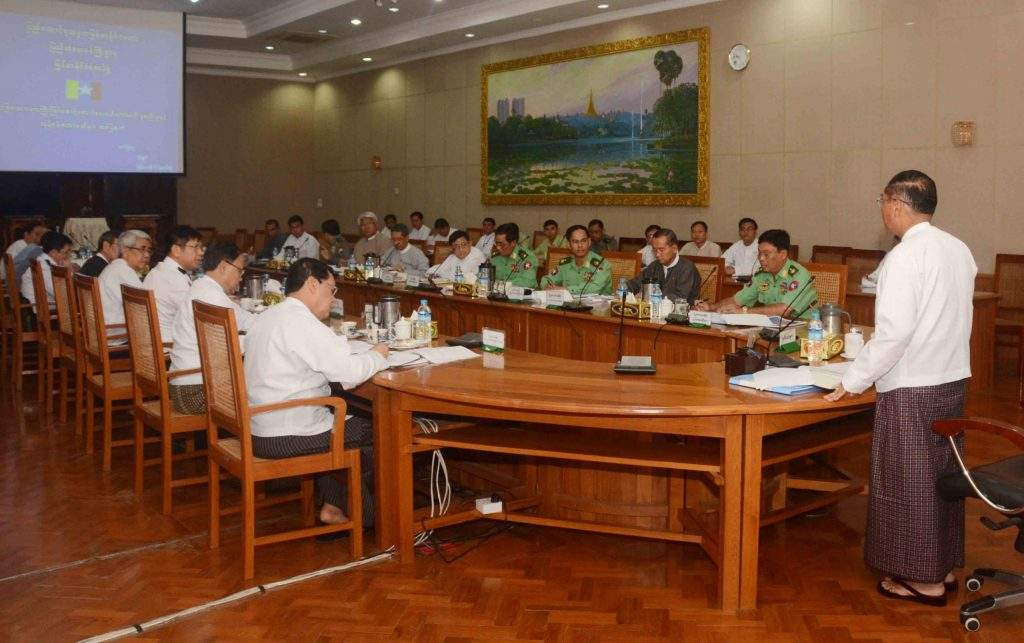 "Vice President U Myint Swe addresses at the meeting of ""taking care of foreigners"". Photo: MNA"
