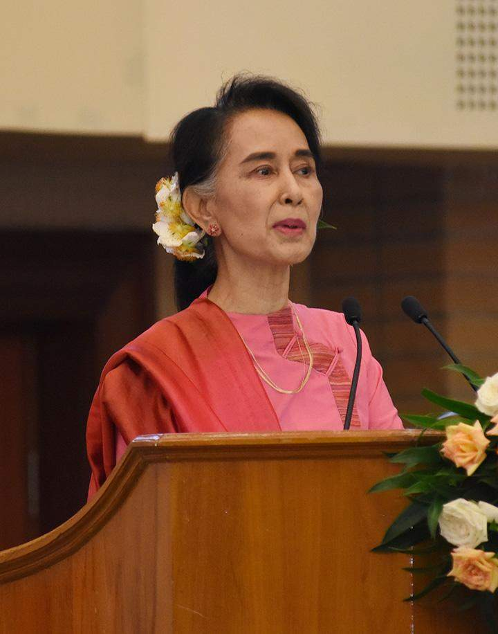 State Counsellor Daw Aung San Suu Kyi speaks  at Technical Vocational Education Training (TVET) Forum in Nay Pyi Taw .