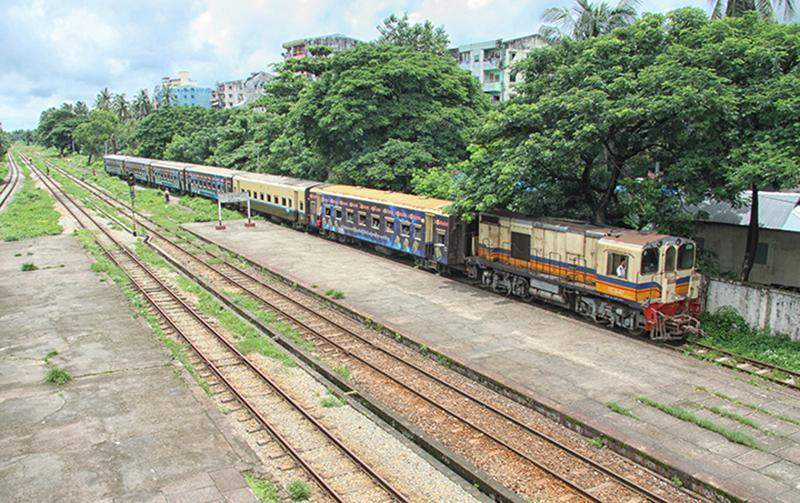 A circular train arrives at Ma Hlwa Gone Station in Yangon on 20 July 2016.