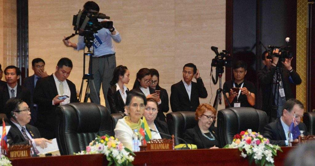 Union Minister for Foreign Affairs Daw Aung San Suu Kyi attends the 49th ASEAN Foreign Ministers' Meeting in Vientiane, Laos. Photo: MNA