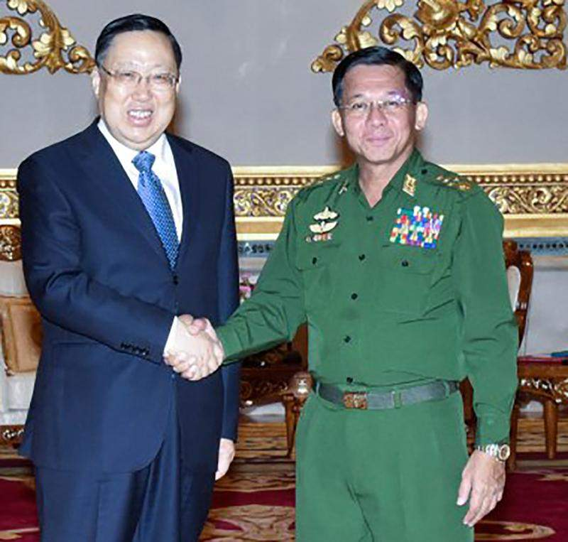 Senior General Min Aung Hlaing greeting Chinese Security Minister.
