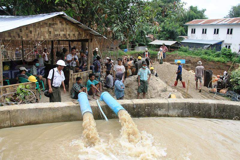 Japan-funded Clean water supply project in Pyay is expected to finish next fiscal year. Photo: Myitmakha News Agency