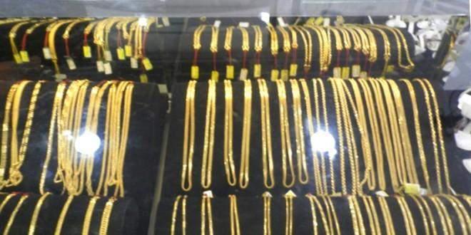 Gold jewelry displayed in Yangon.