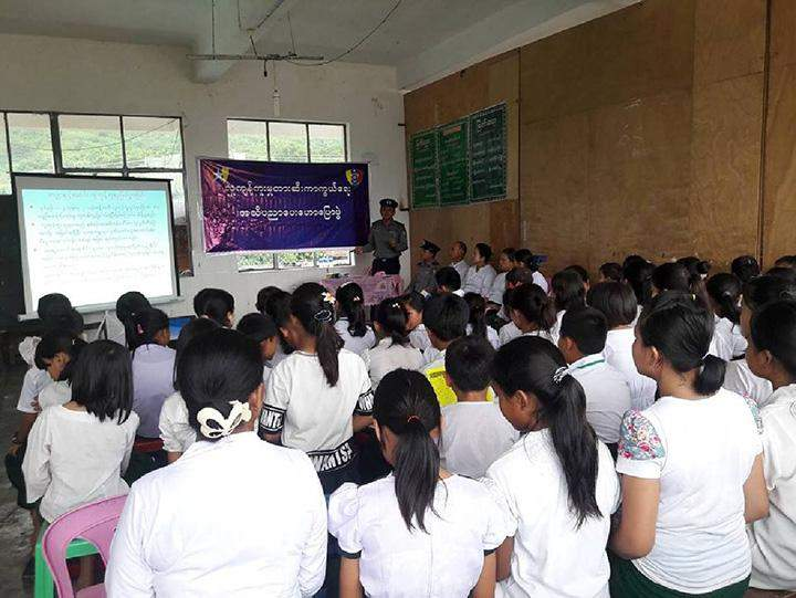 A session of educational talks on trafficking in person in progress.