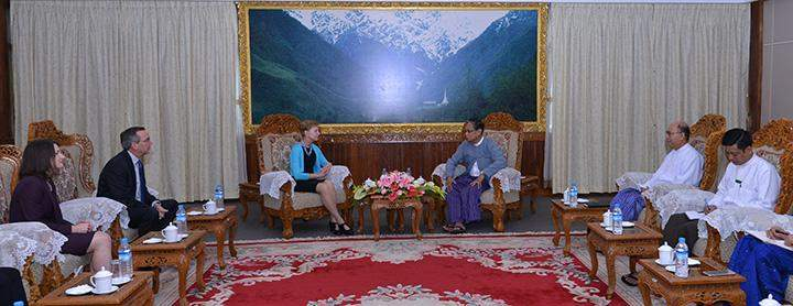Union Minister U Kyaw Tint Swe receives Adviser to the US Secretary of State Ambassador Kristie Kenney.