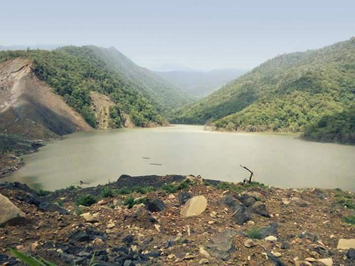 The natural dam caused by landslide in Chin State.