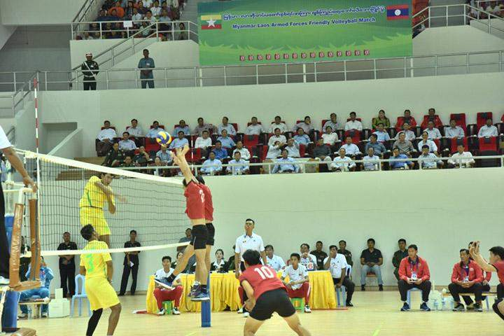 Myanmar beat Laos in a friendly volleyball match.