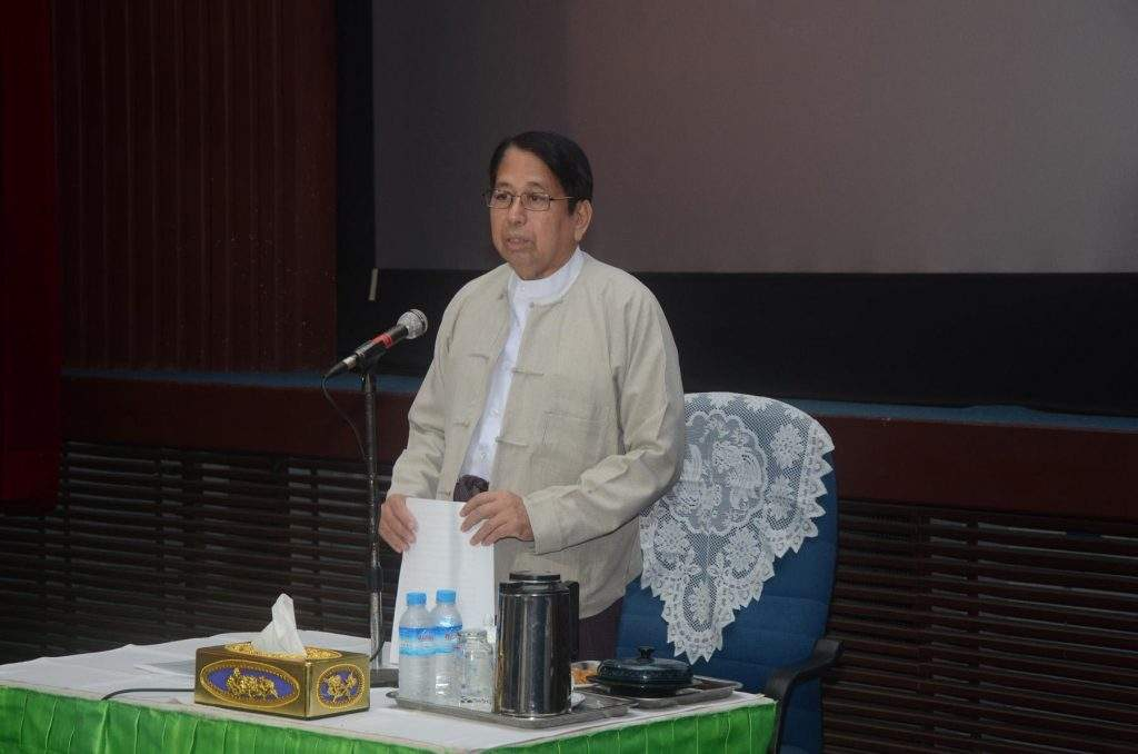 Union Minister Dr Pe Myint speaks at meeting with the film censorship board in Yangon. Photo: MNA