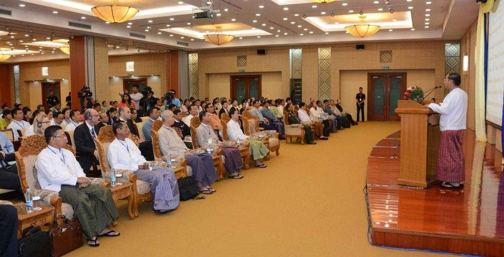 Vice President U Myint Swe delivers an opening address at Consultative Workshop on Civil Service Reform (Strategic Action Plan) in Nay Pyi Taw. Photo: MNA