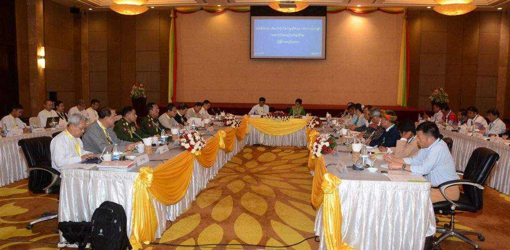 Joint Implementation Coordination Meeting on the Nationwide Ceasefire Agreement is in progress. Photo: MNA
