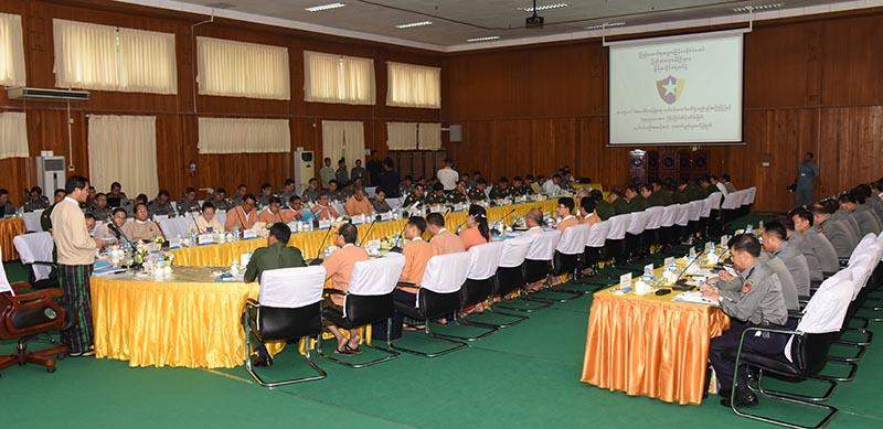Vice President U Henry Van Thio addresses coordination meeting of the Emergency Management Central Committee. Photo: MNA
