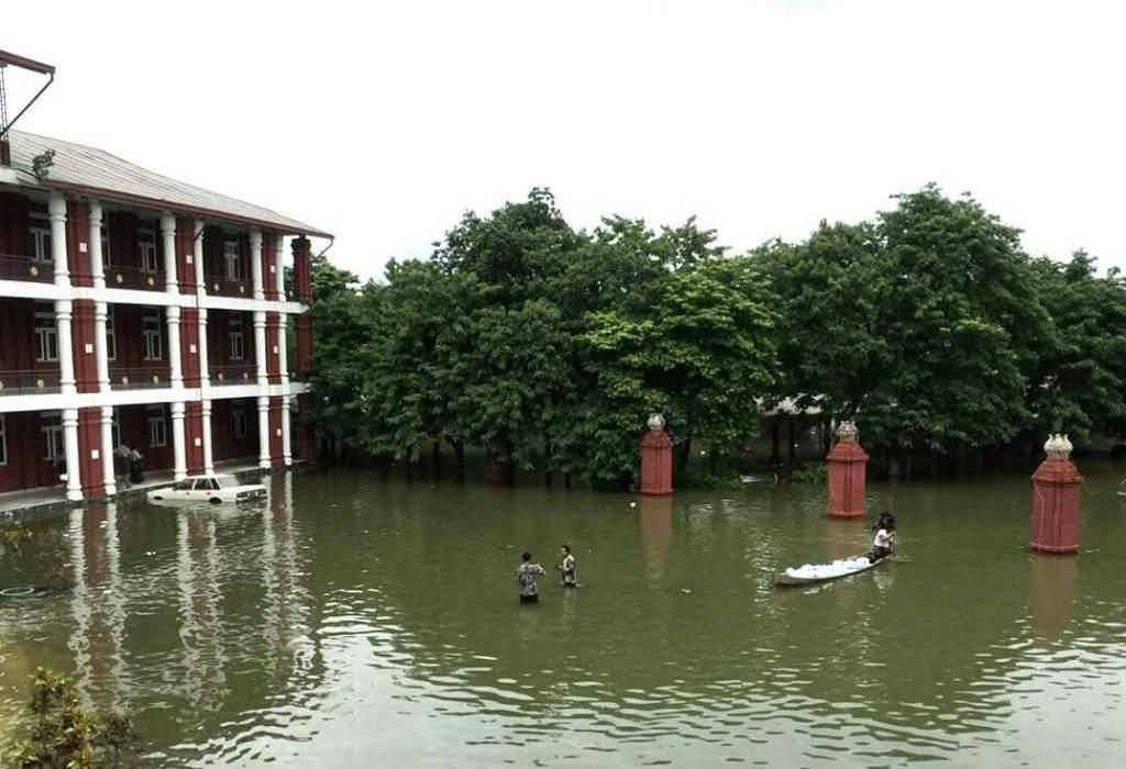 Flooding in Mandalay has forced Yadanabon University to shut down. Photo: Yadanabon University's fb