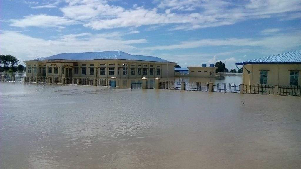 A station hospital in Yesagyo located near the confluence of the Ayeyawady and Chindwin rivers is submerged on 3rd August 2016. Photo: Pe Tun Zaw