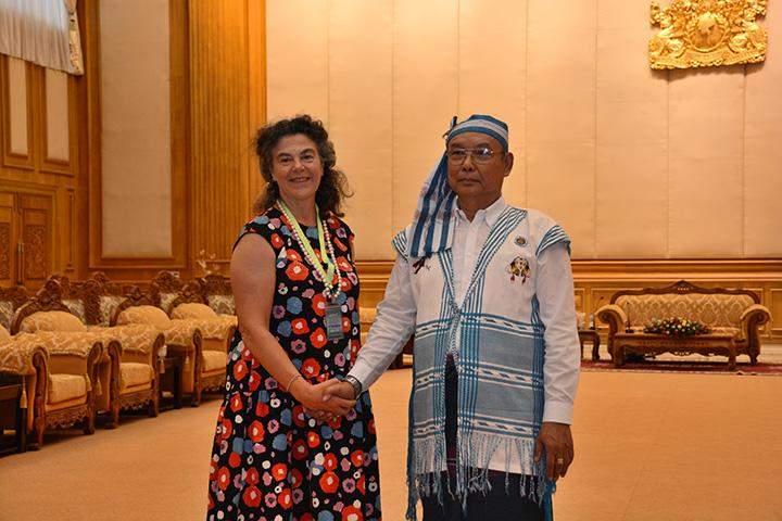 Speaker of Pyidaungsu Hluttaw and Amyotha Hluttaw Mahn Win Khaing Than receives Norwegian Ambassador to Myanmar Ms. Ann Ollestad in Nay Pyi Taw.