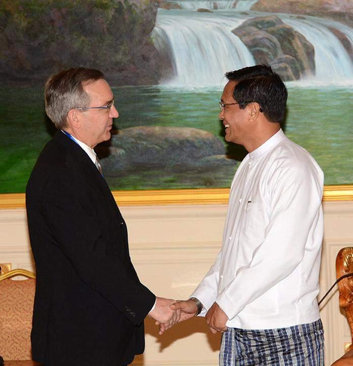 Vice President U Henry Van Thio receives US Ambassador to  Myanmar Mr. Scot Marciel in Nay Pyi Taw.