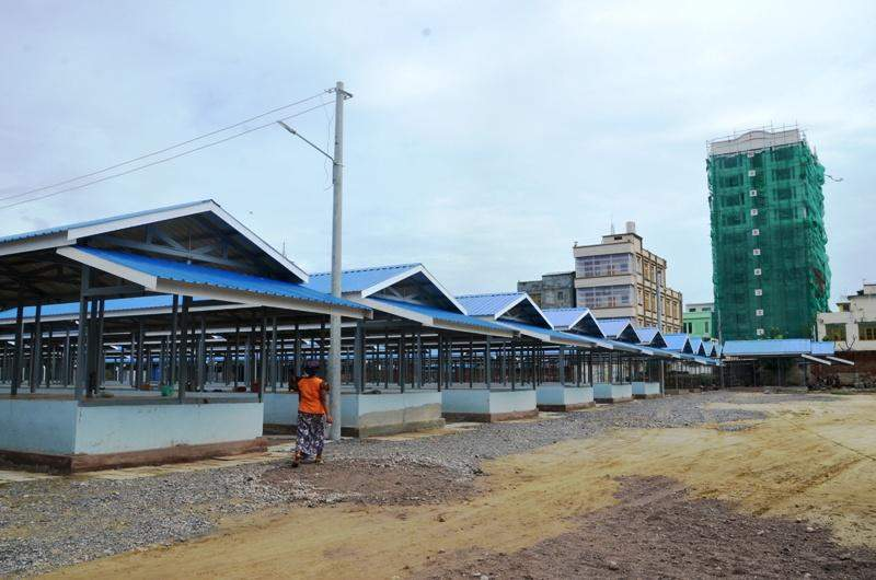 Temporary shops for Mandalay Mingalar market's fire victims are ready to accomodate the shopkeepers. Photo: Aung Thant Khaing