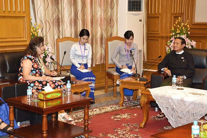 Speaker of Pyithu Hluttaw U Win Myint bids farewell to outgoing Norwegian Ambassador to Myanmar Ms. Ann Ollestad in Nay Pyi Taw.