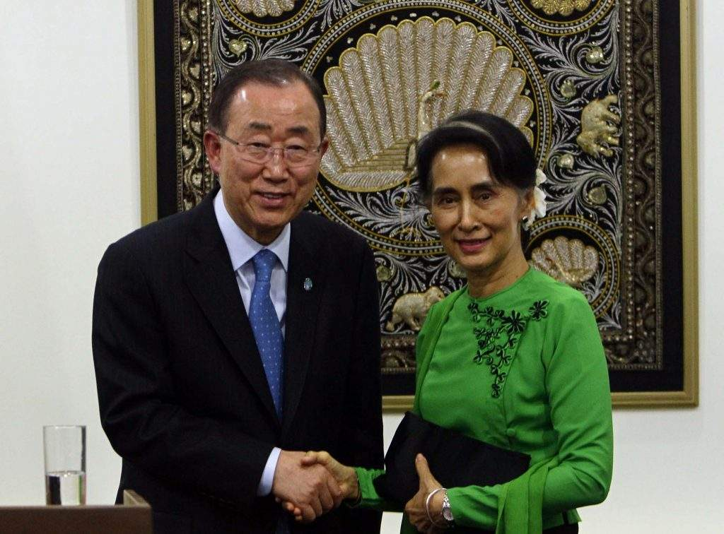Mr Ban Ki-moon, Secretary - General of the UN, shakes hands with State Counsellor Daw Aung San Suu Kyi. Photo: Aung Shine Oo